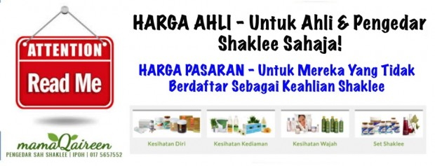 Harga Ahli Shaklee dan Harga Pasaran Shaklee