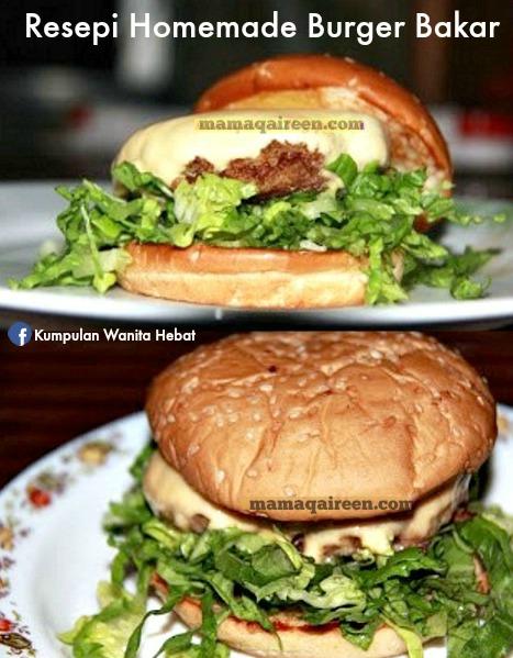 resepi homemade burger bakar