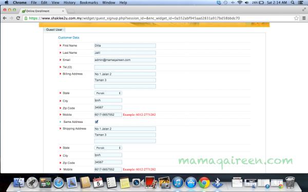 order atau membeli shaklee secara online dengan esell